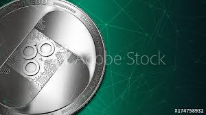 Macro Shot Of Silver Omisego Omg Coin And Copy Space On