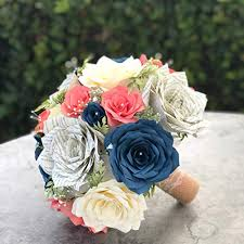 Paper Flower Bouquet For Wedding Wedding Bouquet In Coral Navy Blue Ivory Paper Flowers And Book Page Roses