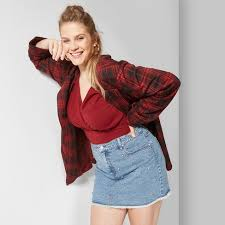 Image result for denim mini skirt fall plus size