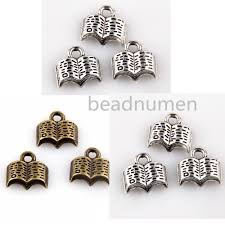 details about 20 50 100 200pcs silver bronze jewelry making nice book charms pendants 11 12mm