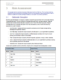 Business Continuity Plan Template Ms Word Excel Templates Forms