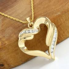14kt yellow gold 0 14 ct h i si2 i1 diamond heart pendant necklace 45