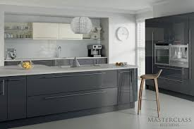 contemporary white and gray kitchen decors using white wall cabinets also grey kitchen island finished in open kitchen
