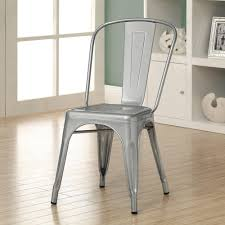 Dining Room  Chic Monarch Galvanized Metal Cafe Chair Crafted Of - Heavy duty dining room chairs