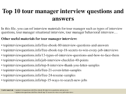 Tour Manager Resume Top 100 tour manager interview questions and answers 78