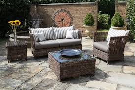 gray outdoor patio set. exterior : decoration outdoor modish rectangular rattan patio desk with glass top also cool couch and chairs plus gray vinyl cover seat as decorate set d