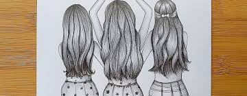 how to draw three friends hugging each
