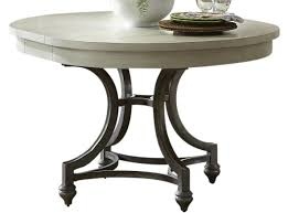 liberty furniture harbor view iii round dining table in dove gray 731 t4254