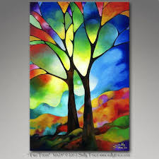 original 36x24 inch abstract landscape tree painting by sallytrace