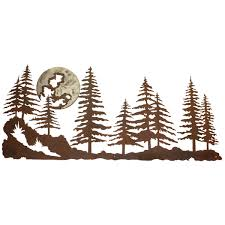 >pine forest burnished metal wall art