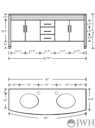 double sink vanity glass top dimensions