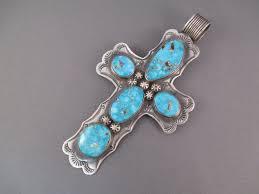 large cross pendant with kingman turquoise