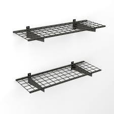 Wall shelf rack Rectangle Wall 2shelf 45 In Wire Garage Wall Storage System In Silver The Home Depot Garage Storage Shelving Units Racks Storage Cabinets More At
