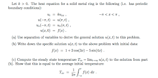 the heat equation for a solid metal ri
