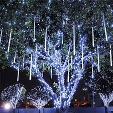 Blue And Warm White Icicle Lights 8pcs Set 30 50cm Colorful Meteor Shower Rain Tubes Warm