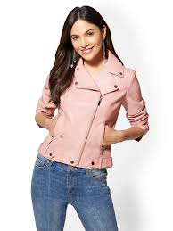 new york company women s pink faux leather moto jacket