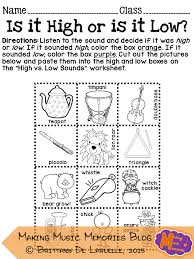 Making Music Memories: High and Low Worksheet Activity