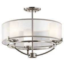 kichler 42923clp classic pewter 3 light convertible chandelier semi flush ceiling fixture from the saldana collection 18 inches wide lightingdirect com