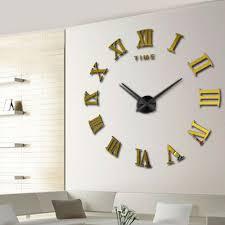 2016 modern diy interior roman numeral scales wall clock 3d mirror sticker metal home decor horloge large wall clock in wall clocks from home garden on