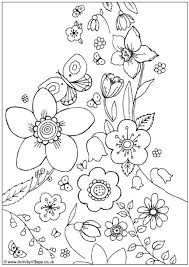 Spring Flowers Colouring Page Marys Coloring Book Spring
