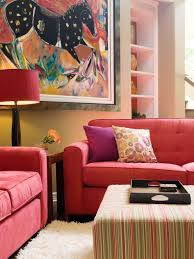 comfy red sofas in contemporary living