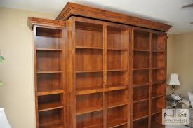 Library unit holds hidden Murphy Bed.