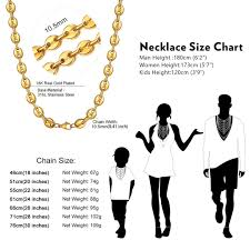 Gold Chain Width Size Chart Chainshouse Men Women 18k Gold Plated Coffee Beans Chain 10 5mm Stainless Steel Necklace Biker Punk Style 18 30 Inches