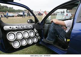 car sound system. renault world series castle donnington car with powerful audio system many loud speakers - stock sound