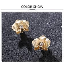 <b>Badu</b> Gold Clip On Earring <b>Flower</b> Rhinestone Small Earrings ...
