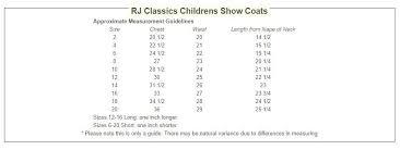 Rj Classics Show Shirt Size Chart Girls Rj Classics Show Jacket Shore S8534 Brennans Bit