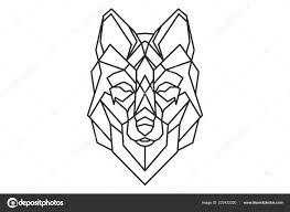логотип эскиз татуировки геометрические волк векторное изображение