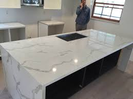 creative home design magnificent calacatta gold quartz countertop mitered edeg and island with fall with