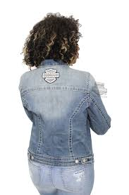 harley davidson womens patches pins with rhinestone embellished denim blue casual jacket