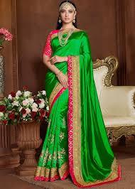 Green Saree With Pink Blouse Design Tamanna Bhatia Heavy Border Green Saree