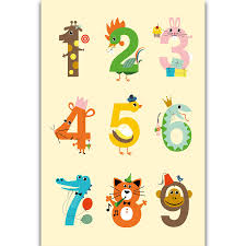 Us 5 49 S311 Number Chart Kids Education Math Kid Room Wall Art Painting Print On Silk Canvas Poster Home Decoration In Painting Calligraphy From