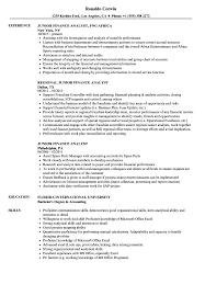 Junior Finance Analyst Resume Samples Velvet Jobs