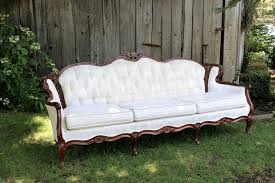 White Vintage Couch Pageo Lavender Farm Wedding Vintage Sofa White