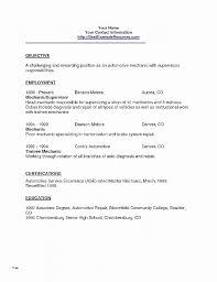 Resume Best Of Auto Mechanic Resume Template Auto Mechanic Resume