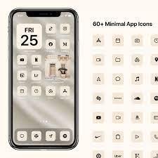 iOS 14 Minimal Icons, Cream Minimalist ...