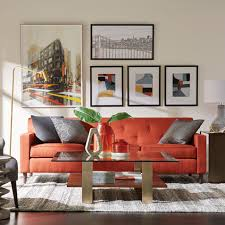 Eclectic living room furniture Mixed Style Gray And Orange Living Room Mytownhallinfo Shop Living Rooms Ethan Allen Ethan Allen