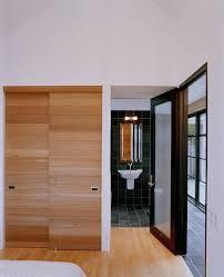 sliding closet doors Bathroom Contemporary with vaulted ceiling closet