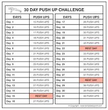 Push Up Chart 30 Days Push Up Challenge For Men Pushup Workout Chart For