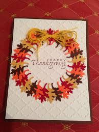 Handmade Thanksgiving Card Wreath Made Of Punched Oak Leaves