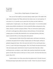 comm compare contrast essay high school vs college high  4 pages comm1003 cause effect essay positive effective of high popularity of computer games