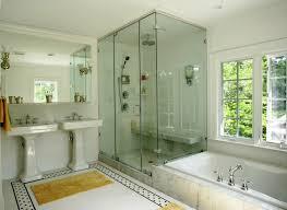 floor tile designs Bathroom Traditional with black glass hexagon