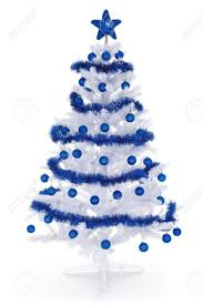 Artificial white christmas tree on white, decorated with blue ornaments and  garland Stock Photo -