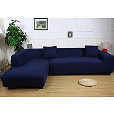universal sofa covers for l shape 2pcs polyester fabric stretch slipcovers 2pcs pillow covers