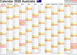Australia Calendar 2020 Free Printable Excel Templates