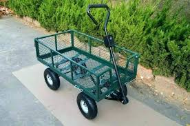 garden utility cart with seat way parts golf wire steel mesh four wheel trolley hose