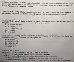 Cattle Birth Weight Chart Solved Question 14 1 Point At 9 Months Jonahs Weight